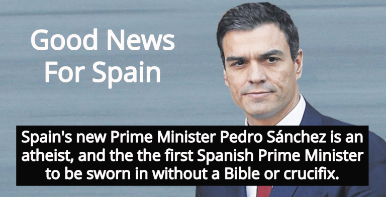 Spain's New Prime Minister Pedro Sánchez Is Atheist, Takes Oath Without Bible (Image via Twitter)