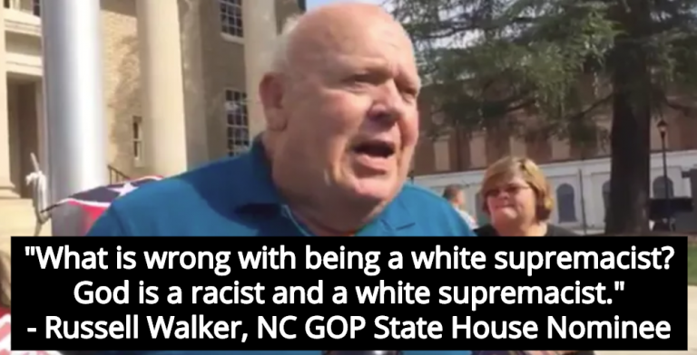 Republican Nominee Russell Walker: God Is A White Supremacist, Jews Come From Satan (Image via Screen Grab)