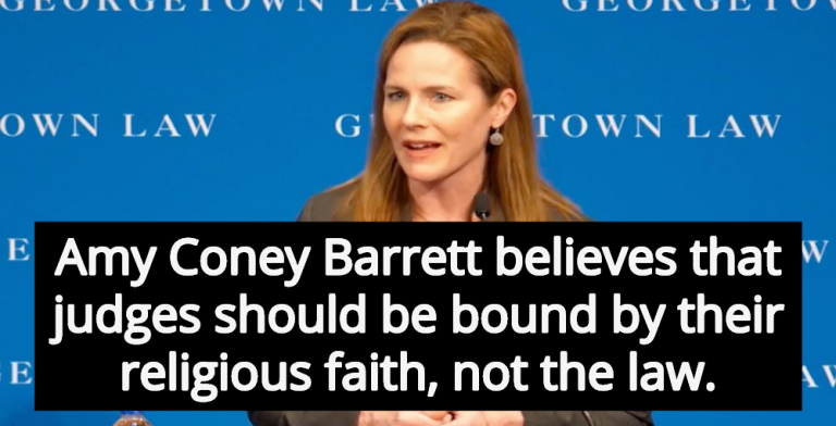 Leading Candidate For Supreme Court Amy Coney Barrett Claims Bible Precedes Constitution (Image via Twitter)