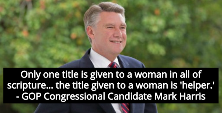 GOP Congressional Candidate: God Says Women Are 'Helpers' Only (Image via MarkHarrisForCongress)