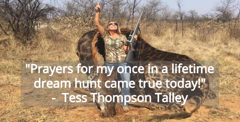 Christian Trophy Hunter Tess Thompson Talley Thanks God After Killing Giraffe (Image via Twitter)