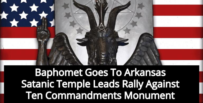 Satanic Temple Sends Baphomet To Rally Against Ten Commandments Monument (Image via Twitter)
