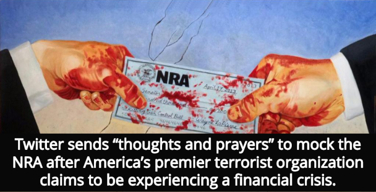 NRA Claims Financial Crisis, Twitter Sends 'Thoughts And Prayers' (Image via Twitter)