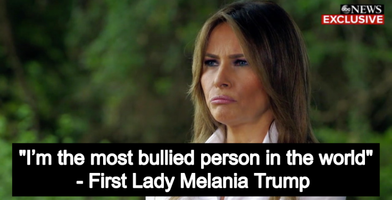 First Lady Melania Trump Claims She's 'The Most Bullied Person In The World' (Image via Screen Grab)