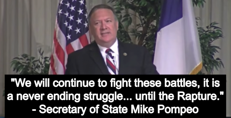 Secretary Of State Mike Pompeo: 'We Will Continue To Fight… Until The Rapture' (Image via Screen Grab)