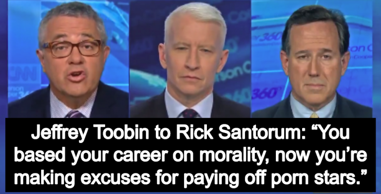 Rick Santorum Humiliated On CNN After 'Making Excuses For Paying Off Porn Stars' (Image via Screen Grab)