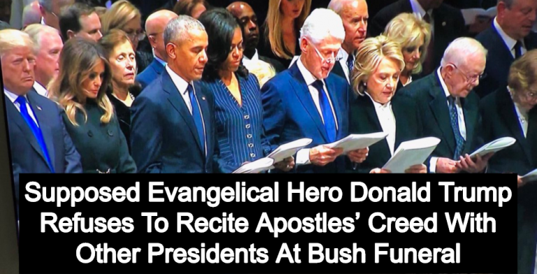 Trump Refuses To Recite Apostles' Creed With Other Presidents At Bush Funeral (Image via Twitter)
