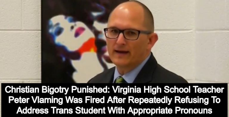 Virginia Teacher Peter Vlaming Fired For Bullying And Misgendering Transgender Student (Image via Screen Grab)