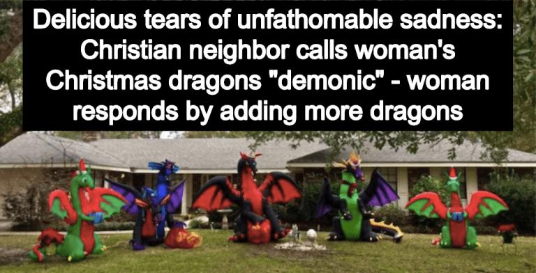 Angry Christian Complains About Woman's 'Demonic' Dragon Christmas Display (Image via Twitter)