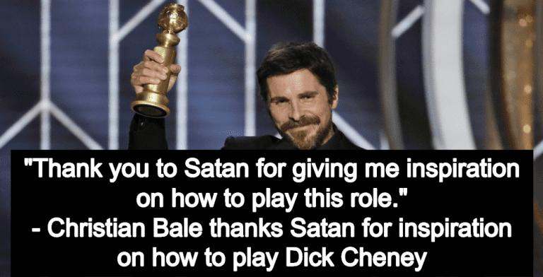 Conservatives Rage After Christian Bale Thanks Satan In Golden Globes Speech (Image via Screen Grab)