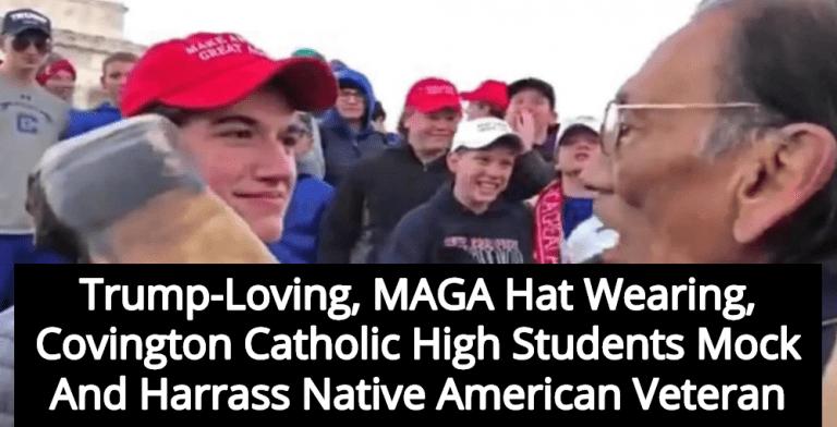 MAGA Hat Wearing Covington Catholic Students Abuse Native American Veteran (Image via Twitter)
