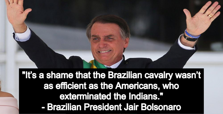 Brazil's Christian Fascist Bolsonaro Takes Office, Sets Stage For Genocide Of Non-Christians (Image via Screen Grab)