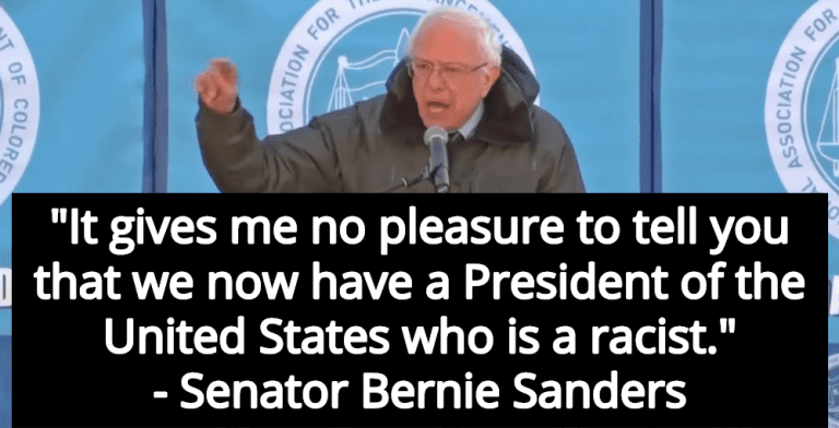 Bernie Sanders Calls Donald Trump A Racist While Speaking At MLK Rally (Image via Screen Grab)