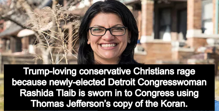 Detroit Congresswoman Tlaib Takes Oath On Jefferson's Koran - Christian Heads Explode (Image via Rashida Tlaib campaign)