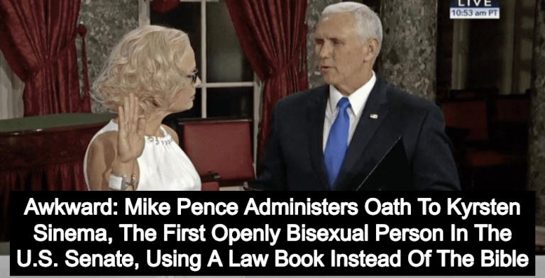 Senator Kyrsten Sinema Rejects Bible, Takes Oath Of Office On Law Book (Image via Screen Grab)