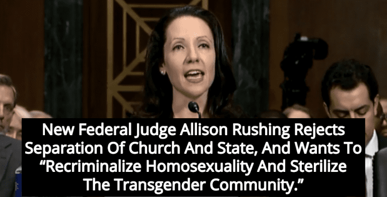 Senate Confirms Dangerous Religious Extremist Allison Rushing As Federal Judge (Image via Screen Grab)