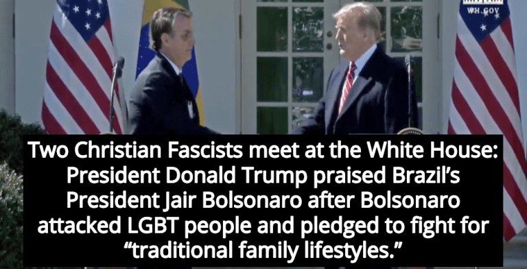 Trump Welcomes Brazil's Christian Fascist President Jair Bolsonaro To White House (Image via Screen Grab)
