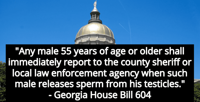 Georgia Bill Requires Men To Report 'Every Release Of  Sperm' To Law Enforcement (Image via Wikimedia)