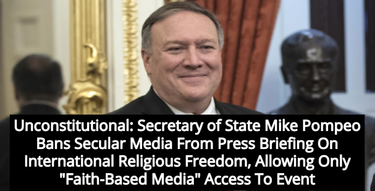 State Department Bans Press Corp From Pompeo Briefing; Allows 'Faith-Based Media' Only (Image via YouTube)