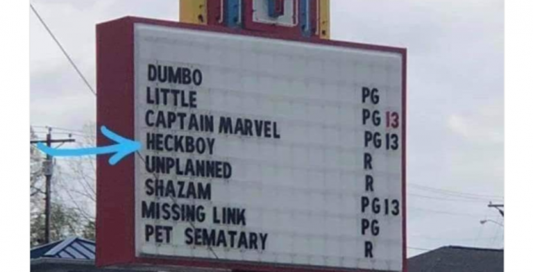 Tennessee Theater Censors 'Hellboy' On Sign Because Bible Belt (Image via Twitter)