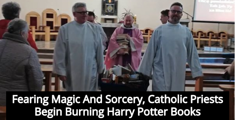 Catholic Priests In Poland Burn Harry Potter Books To Fight Magic (Image via Facebook)
