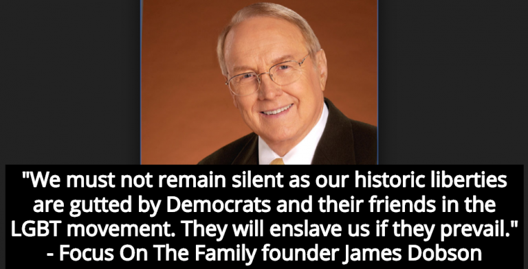 James Dobson Warns Democrats Will 'Enslave' Conservative Christians (Image via Wikipedia)