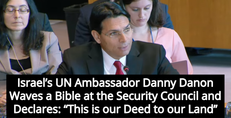 Israel's U.N. Ambassador Claims Bible Proves Jews Own All Of Palestine (Image via Screen Grab)