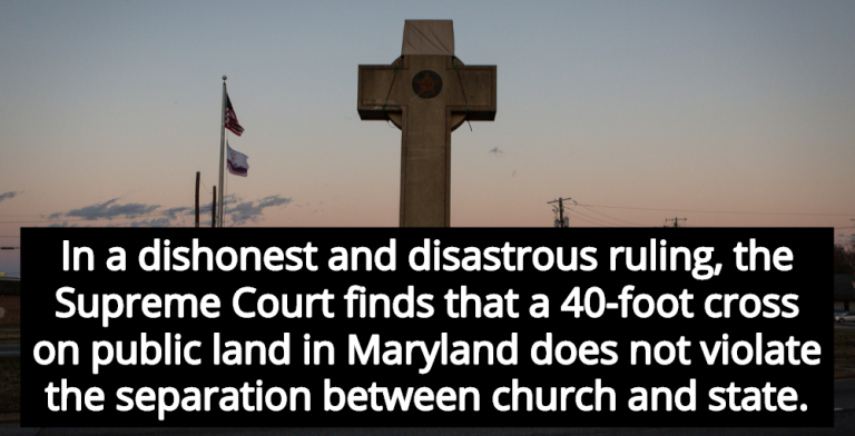 Supreme Court Rules Maryland's 40-Foot Christian Cross Is Secular Symbol (Image via YouTube)