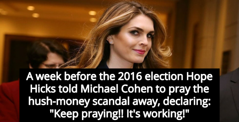 Report: Hope Hicks Thought Her Prayers Prevented Media From Reporting Porn Star Payoff (Image via Twitter)