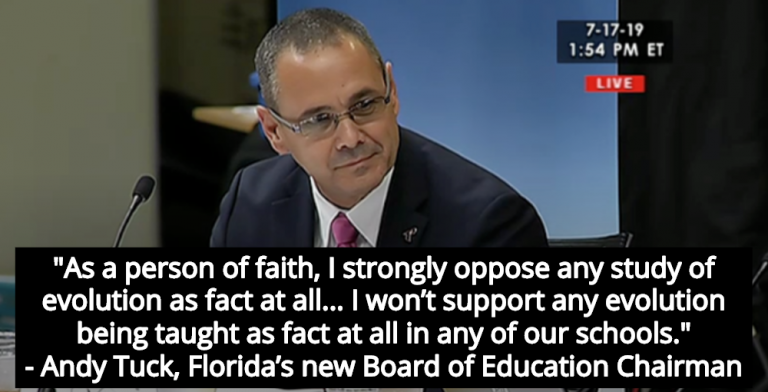 Florida's New Board Of Education Chairman Is Anti-Evolution, Christian Extremist (Image via The Florida Channel)