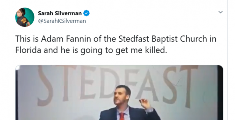 Florida Pastor Calls On God To Kill Comedian Sarah Silverman For Being 'A Witch'  (Image via Twitter)