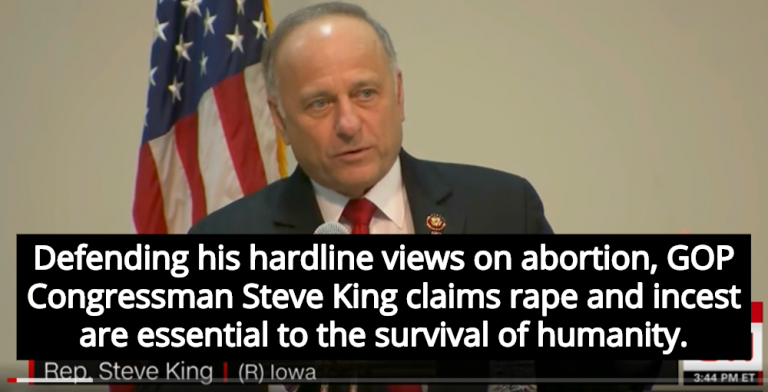 Congressman Steve King Claims Humanity Wouldn't Exist Without Rape And Incest (Image via Screen Grab)