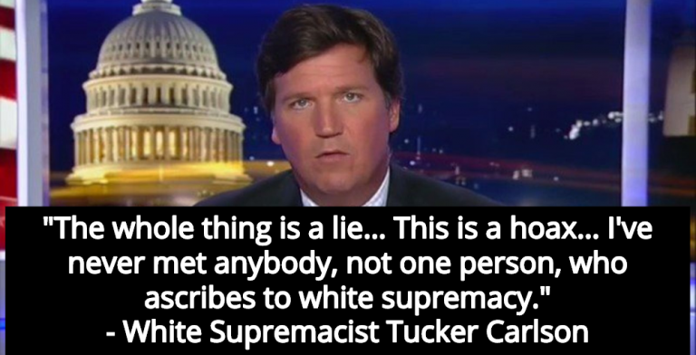 White Supremacist Tucker Carlson Claims White Supremacy Is A 'Hoax' (Image via Screen Grab)