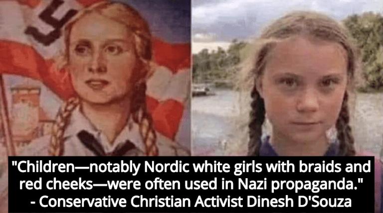 Conservative Christian Activist D'Souza Compares Greta Thunberg To Nazi Propaganda Figure (Image via Twitter)