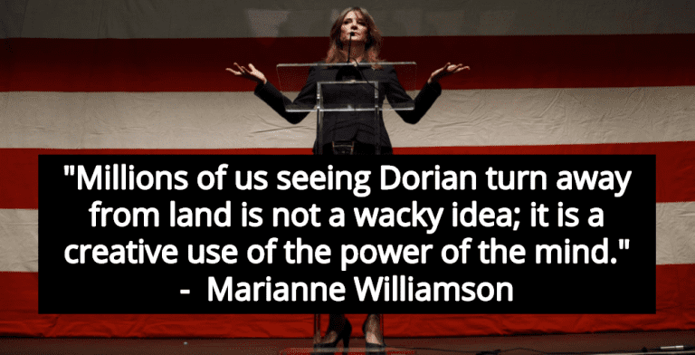Marianne Williamson Claims 'Mind Power' Altered Course Of Hurricane Dorian (Image via Twitter)