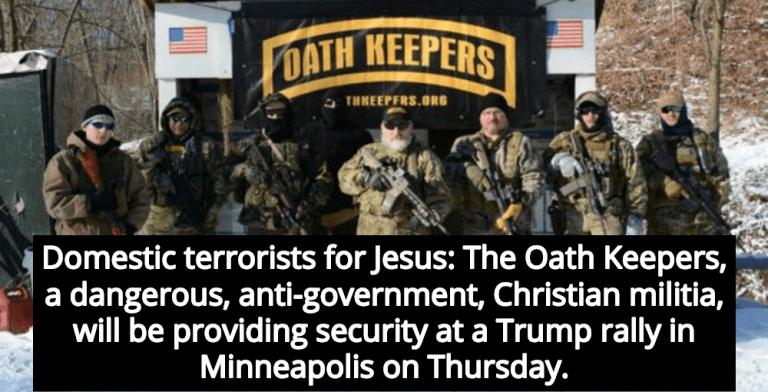 Dangerous Christian Militia Providing Security For Trump's Minneapolis Rally (Image via YouTube)