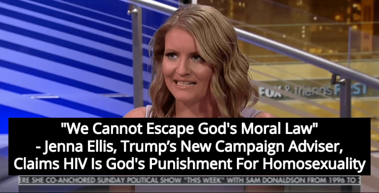 Trump's New Campaign Adviser Jenna Ellis: HIV Is God's Punishment For Homosexuality (Image via Screen Grab)