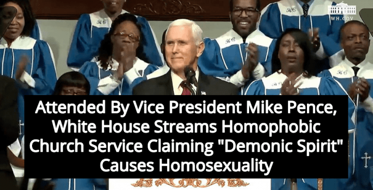 White House Streams Church Service Claiming 'Demonic Spirit' Causes Homosexuality (Image via Screen Grab)