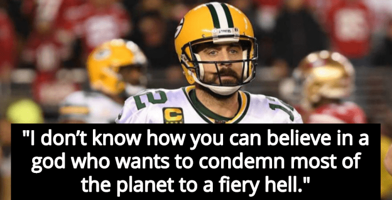 Green Bay Packers Quarterback Aaron Rodgers Rejects Christianity  (Image via Twitter)