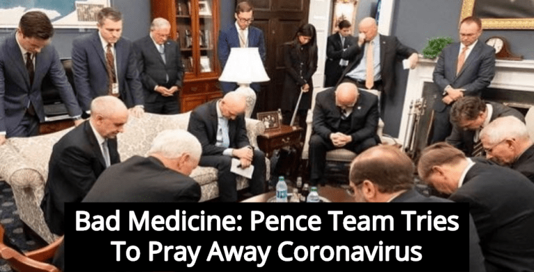 Photo Shows Pence Team Trying To Pray Away Coronavirus (Image via Facebook)