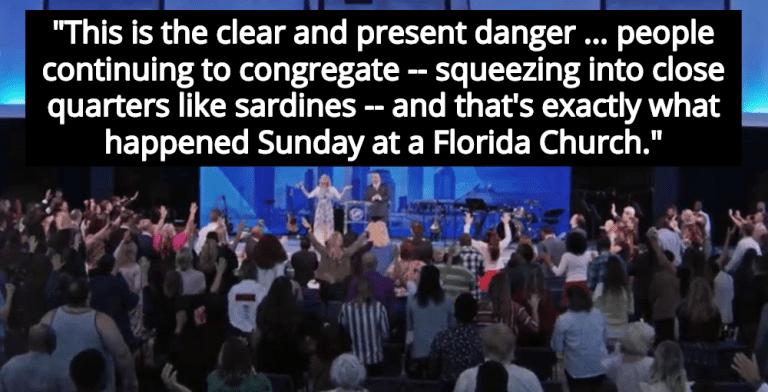 Florida Megachurch Ignores Covid-19, Worshipers Flock To Service (Image via Screen Grab)