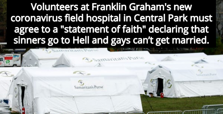 Central Park Tent Hospital: Volunteers Must Agree To Anti-Gay Christian Dogma (Image via Twitter)