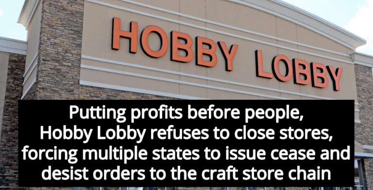 Multiple States Issue Cease And Desist Orders To Hobby Lobby After Stores Refuse To Close (Image via Twitter)