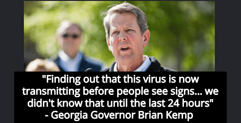 Georgia Governor Kemp Didn't Know Asymptomatic People Could Transmit COVID-19 (Image via Screen Grab)