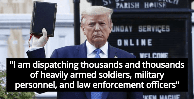 Trump Poses With Bible After Mobilizing Military Against Protesters (Image via Screen Grab)
