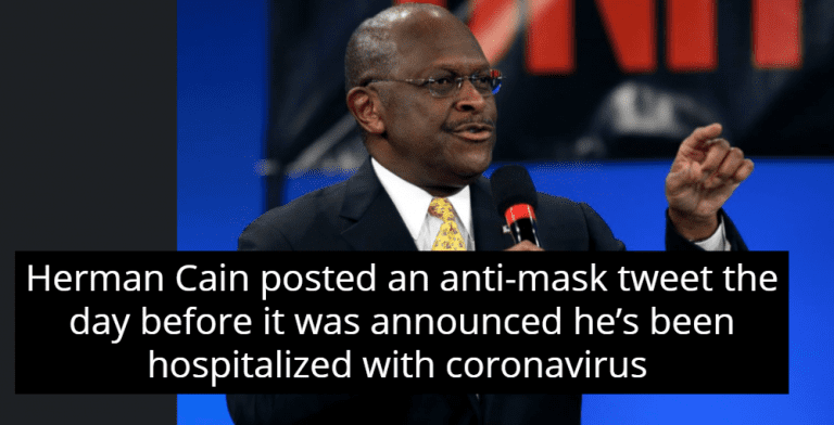 Herman Cain Posted Anti-Mask Tweet Before Being Hospitalized With Coronavirus (Image via Screen Grab)