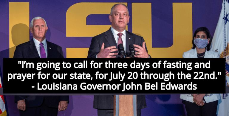 Louisiana Governor Calls For 3 Days Of Prayer And Fasting To End Coronavirus (Image via YouTube)