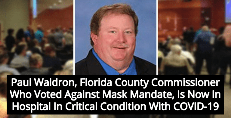Florida County Commissioner Who Opposed Mask Mandate Now In Hospital With COVID-19 (Image via Twitter)