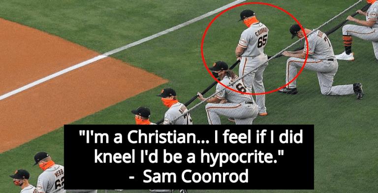 Giants' Pitcher Sam Coonrod Refuses To Kneel For Black Lives Because Jesus  (Image via Screen Grab)