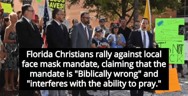Florida Christians Claim 'Biblically Wrong' Face Mask Mandate Interferes With Prayer (Image via Screen Grab)